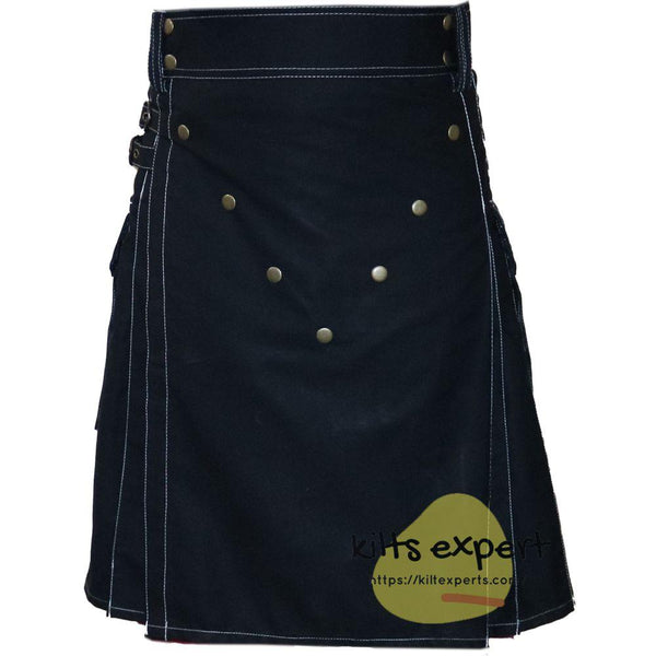 Black V Style Utility Kilt For Men - Kilt Experts