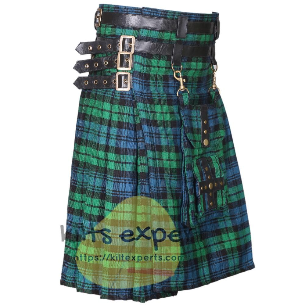Black Watch Ancient Modern Best Tartan Utility Kilt With Detachable Pockets