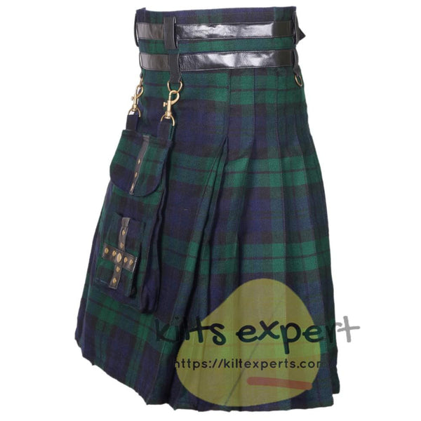 Black Watch Modern Best Tartan Utility Kilt With Detachable Pockets Kilt Experts