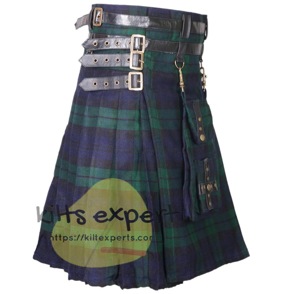 Black Watch Modern Best Tartan Utility Kilt With Detachable Pockets