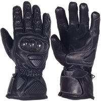 Black Winter Motorcycle Full Finger Genuine Cowhide Leather Gloves