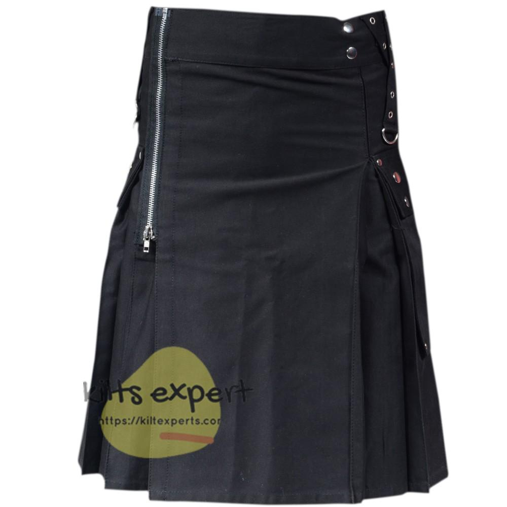 Black Zipper Kilt For men