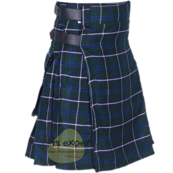 Blue Douglas Leather Straps Utility Kilt - Kilt Experts