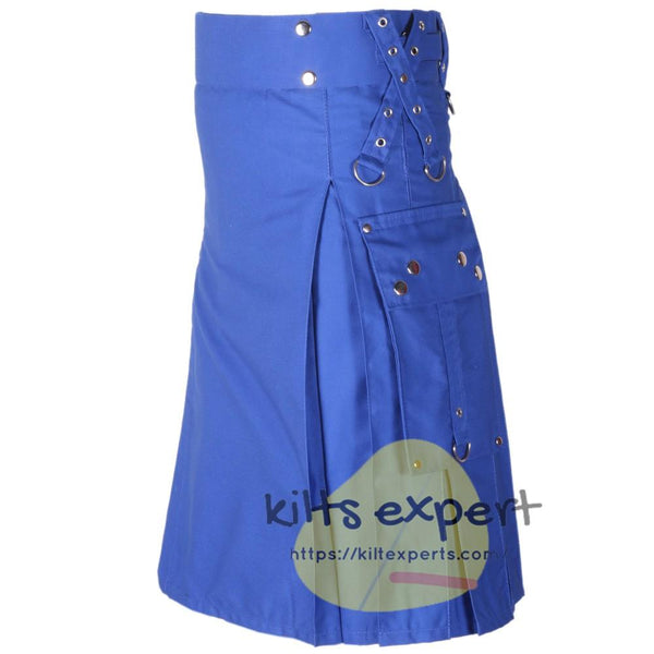 Blue Gothic Zipper Utility Kilt - Kilt Experts