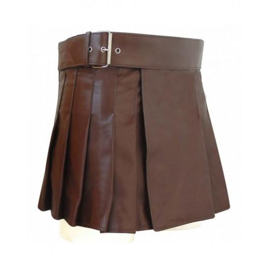Brown Leather Adjustable Fashion Ladies Kilt - Kilt Experts