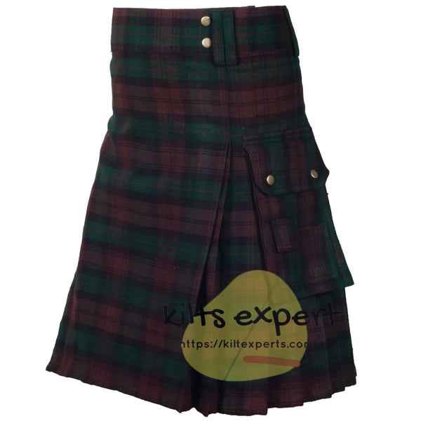 Brown Watch Tartan 16oz heavy Duty Acrylic Wool Kilt for men Kilt Experts