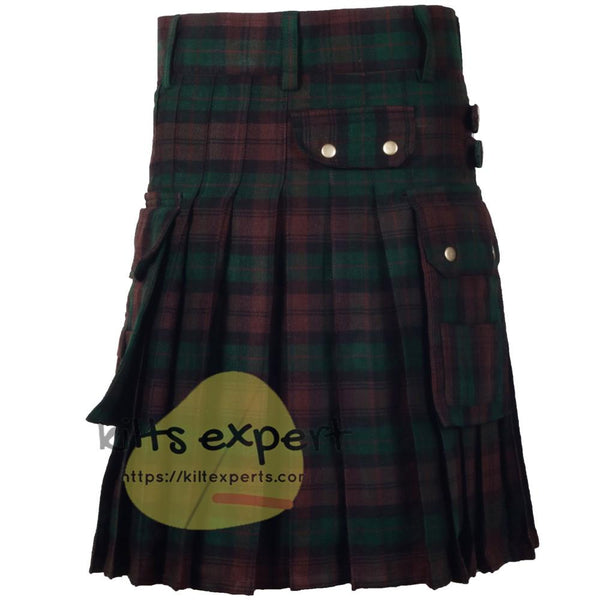 Brown Watch Tartan 16oz heavy Duty Acrylic Wool Kilt for men - Kilt Experts