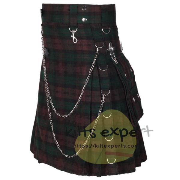 Brown Watch Tartan 16OZ Stud Kilt - Kilt Experts