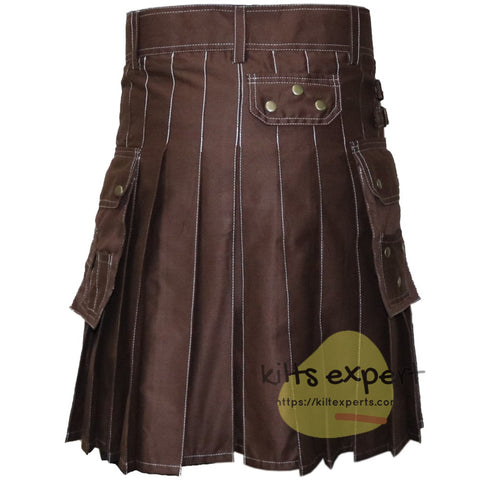Chocolate Brown Modern Utility Kilt