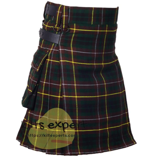 Buchanan Hunting Tartan Leather Straps Utility Kilt - Kilt Experts