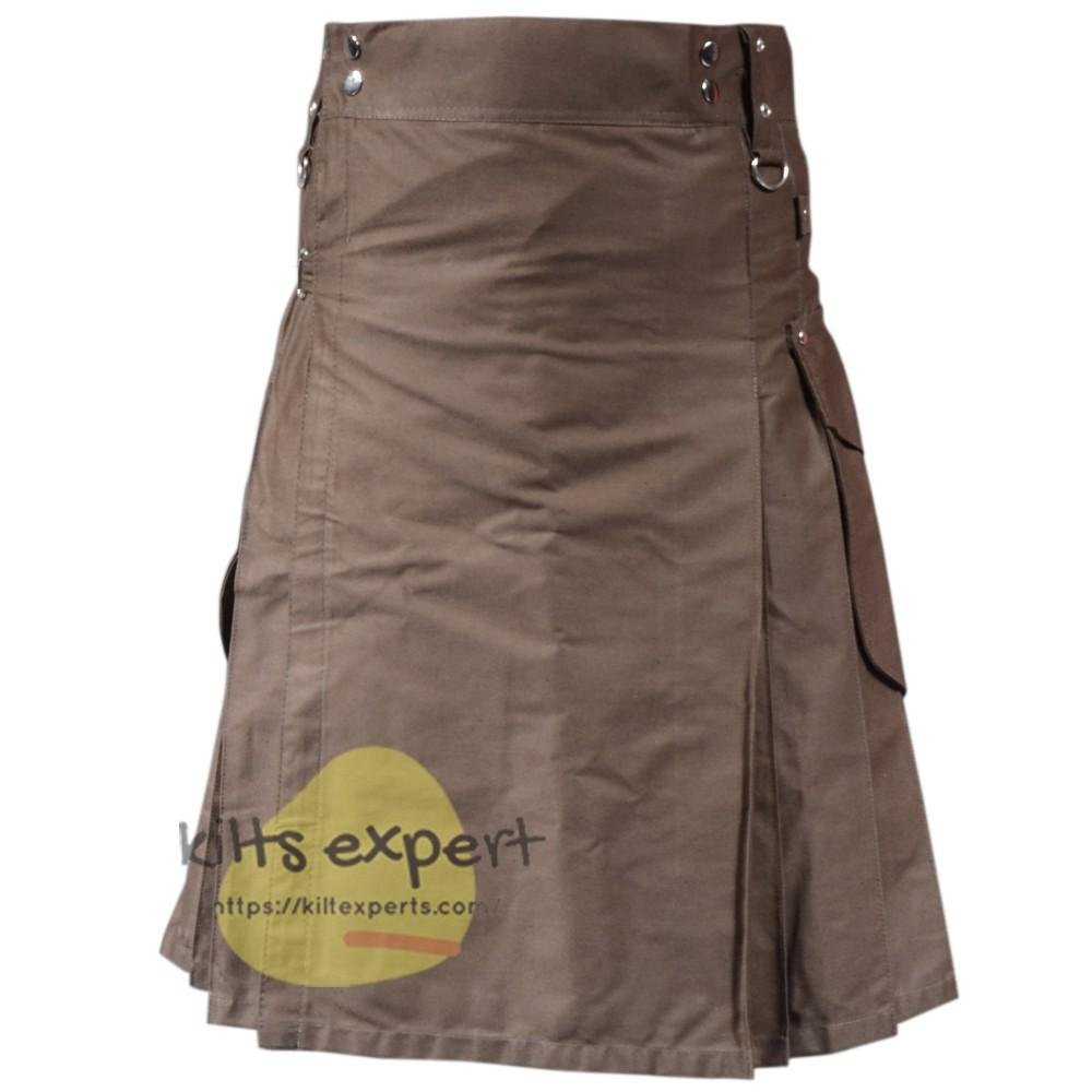 Chocolate Brown Cargo Utility Kilt For Active Men