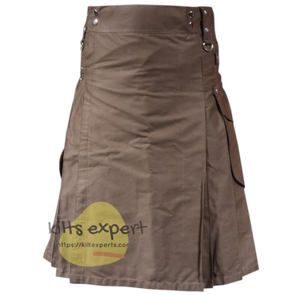 Chocolate Brown Cargo Utility Kilt For Active Men - Kilt Experts