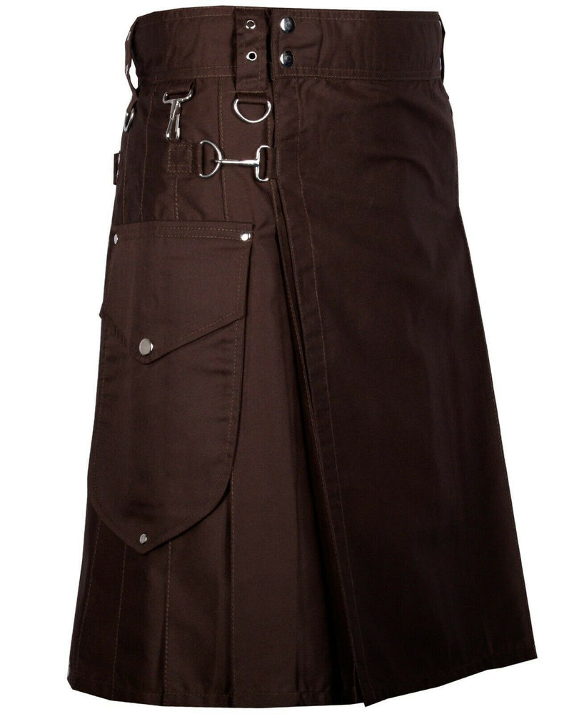Chocolate Brown Cargo Utility Kilts For Men