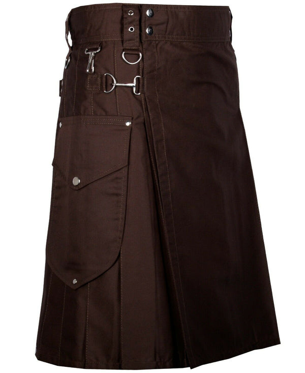 Chocolate Brown Cargo Utility Kilts For Men - Kilt Experts