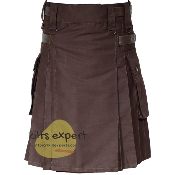 Chocolate Brown Leather Straps Utility Kilt With Brown Rivets and Brown Straps Kilt Experts