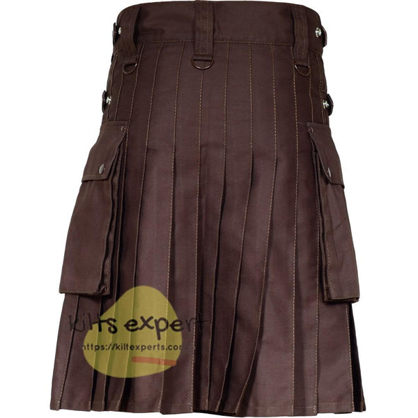 Chocolate Brown Leather Straps Utility Kilt With Brown Rivets and Brown Straps - Kilt Experts