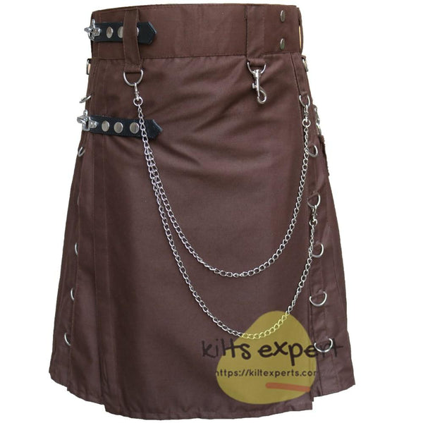 Chocolate Brown Stud Kilt - Kilt Experts