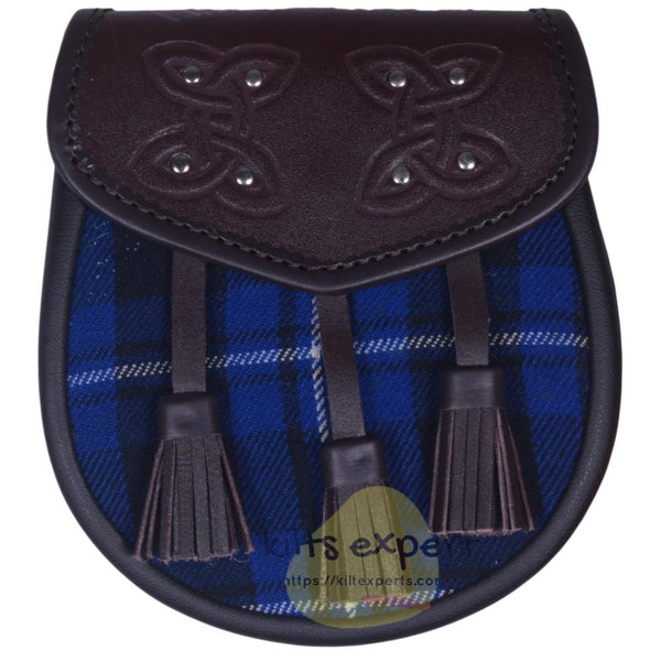 Chocorate Brown Three Teasal Leather Sporrans With Chain & Belt - American Patriot Tartan - Kilt Experts