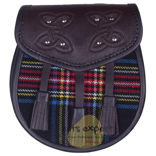 Chocorate Brown Three Teasal Leather Sporrans With Chain & Belt - Black Stewart Tartan Kilt Experts