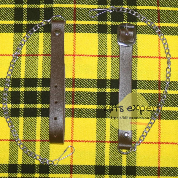 Chocorate Brown Three Teasal Leather Sporrans With Chain & Belt - Black Watch Tartan Kilt Experts