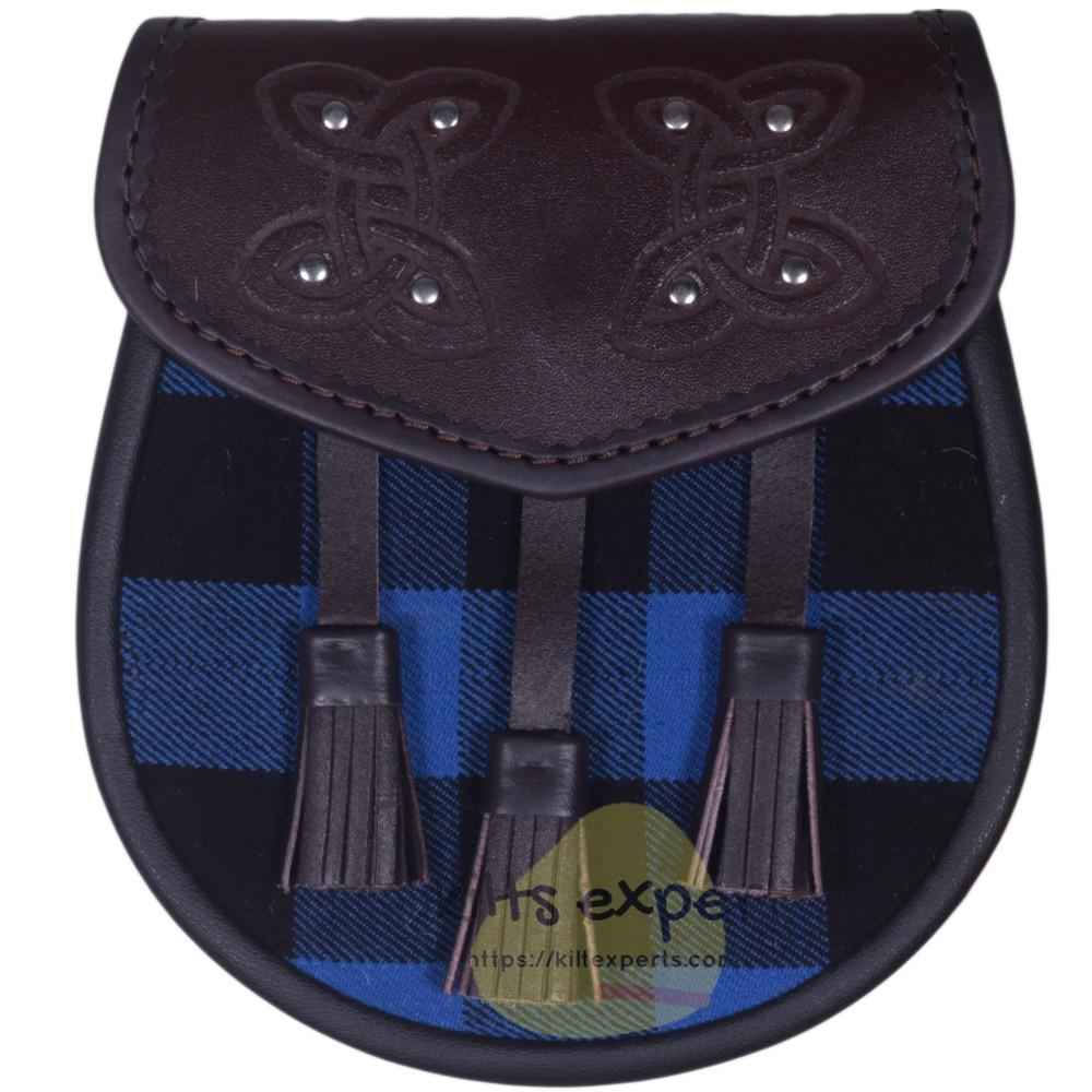 Chocorate Brown Three Teasal Leather Sporrans With Chain & Belt - Buffalo Blue/Black Tartan