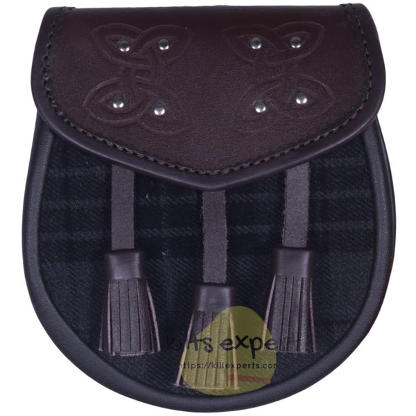 Chocorate Brown Three Teasal Leather Sporrans With Chain & Belt - Dark Grey Highlander Tartan - Kilt Experts