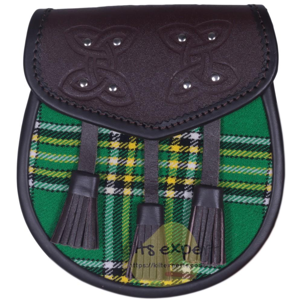 Chocorate Brown Three Teasal Leather Sporrans With Chain & Belt - Irish Heritage Tartan