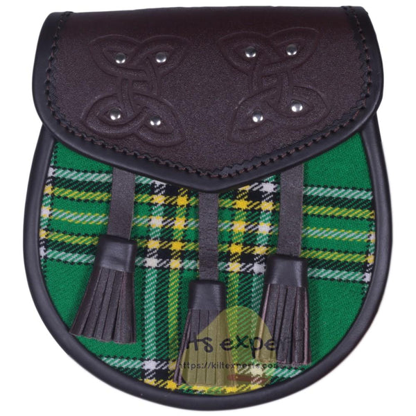 Chocorate Brown Three Teasal Leather Sporrans With Chain & Belt - Irish Heritage Tartan Kilt Experts