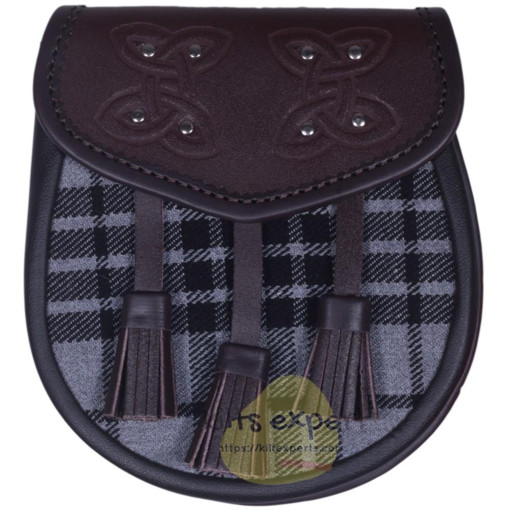 Chocorate Brown Three Teasal Leather Sporrans With Chain & Belt - Light Grey Highlander Tartan