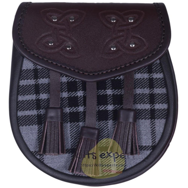 Chocorate Brown Three Teasal Leather Sporrans With Chain & Belt - Light Grey Highlander Tartan - Kilt Experts