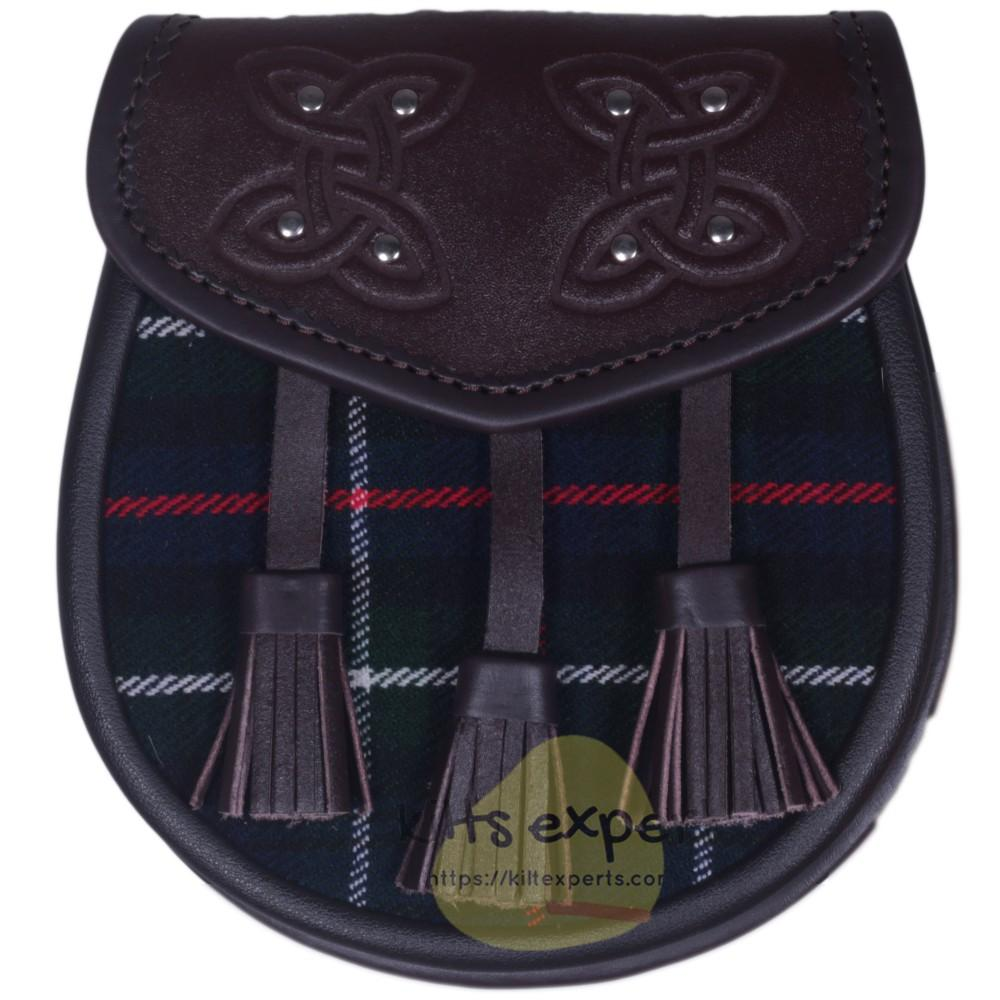 Chocorate Brown Three Teasal Leather Sporrans With Chain & Belt - Mackenzie Tartan