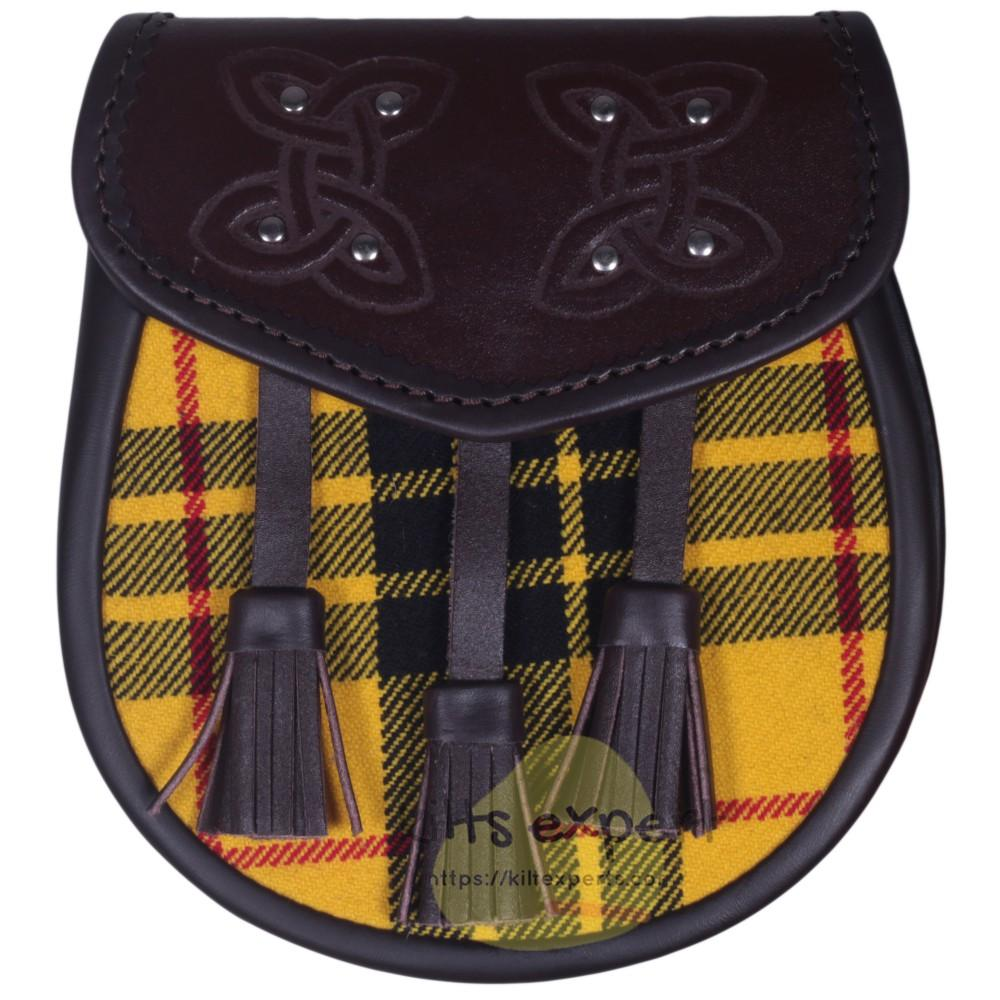 Chocorate Brown Three Teasal Leather Sporrans With Chain & Belt - Macleod Of Lewis Tartan