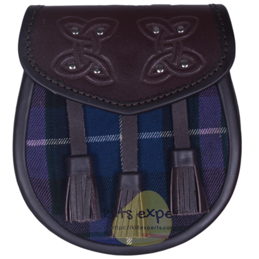 Chocorate Brown Three Teasal Leather Sporrans With Chain & Belt - Pride Of Scotland Tartan