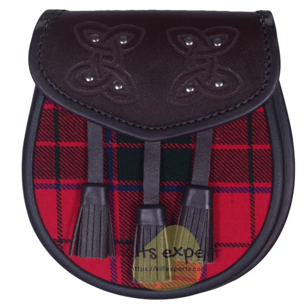 Chocorate Brown Three Teasal Leather Sporrans With Chain & Belt - Robertson Tartan - Kilt Experts