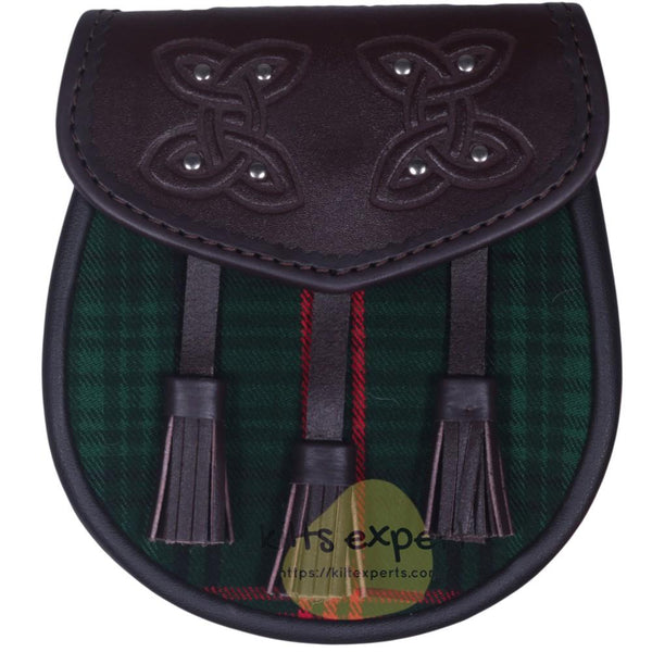 Chocorate Brown Three Teasal Leather Sporrans With Chain & Belt - Rose Hunting Tartan - Kilt Experts
