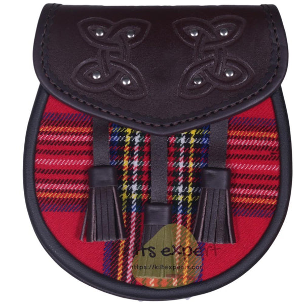 Chocorate Brown Three Teasal Leather Sporrans With Chain & Belt - Royal Stewart Tartan - Kilt Experts