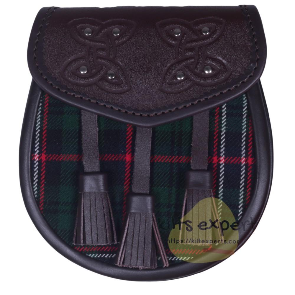 Chocorate Brown Three Teasal Leather Sporrans With Chain & Belt - Scottish National Tartan