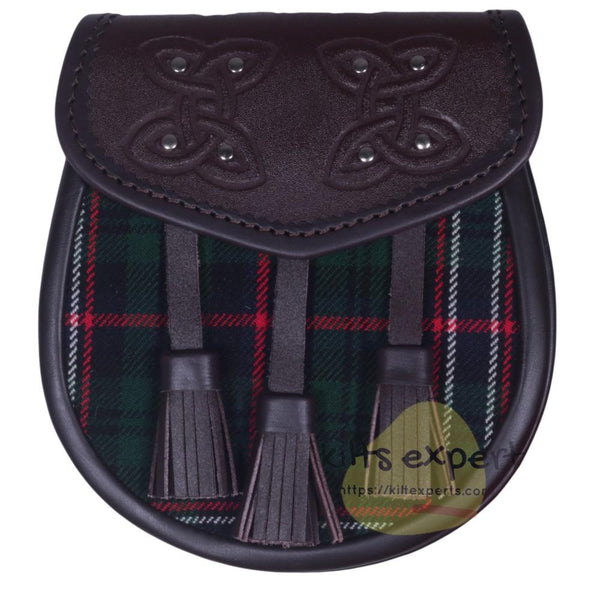Chocorate Brown Three Teasal Leather Sporrans With Chain & Belt - Scottish National Tartan - Kilt Experts