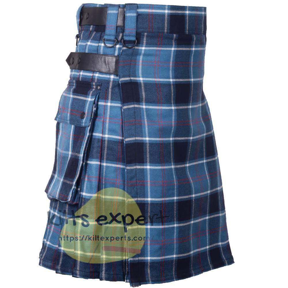 Clan Blue Tartan 16oz heavy Duty Acrylic Wool Leather Straps Kilt for men