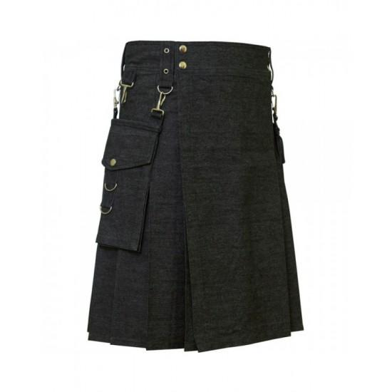 Deluxe Denim Fashionable Kilt - Kilt Experts