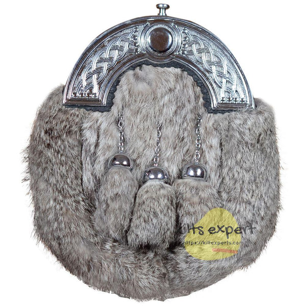 Grey Fur Rabbit 3 Teasel Sporran With Chain Belt - Kilt Experts