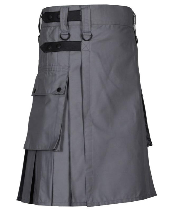Grey Leather Straps Utility Kilt - Kilt Experts