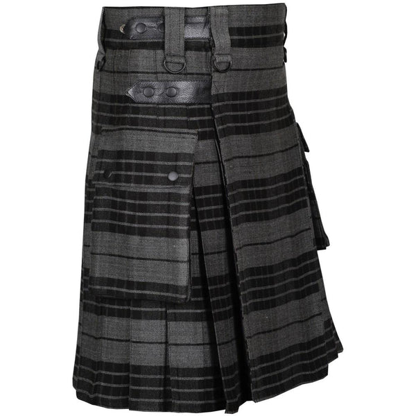 Grey Watch Acrylic Wool 16oz Leather Straps Kilt For Men's - Kilt Experts