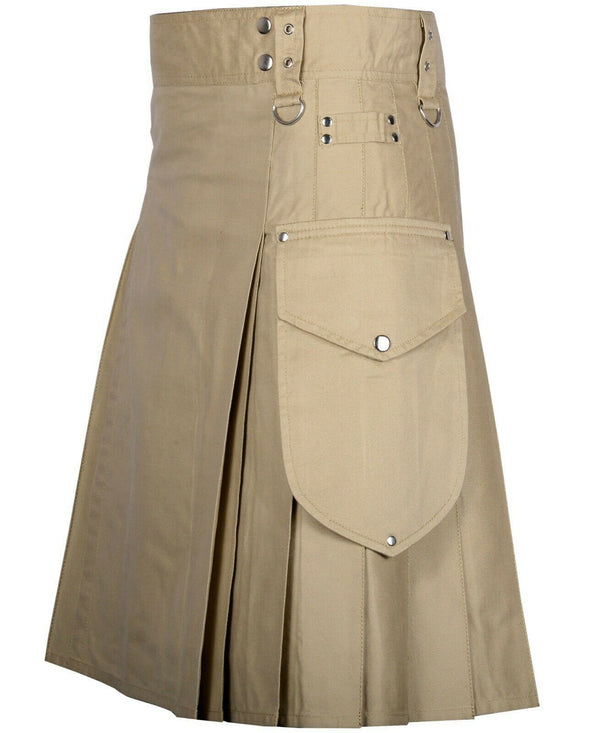 Khaki Cargo Utility Kilts For Men Kilt Experts