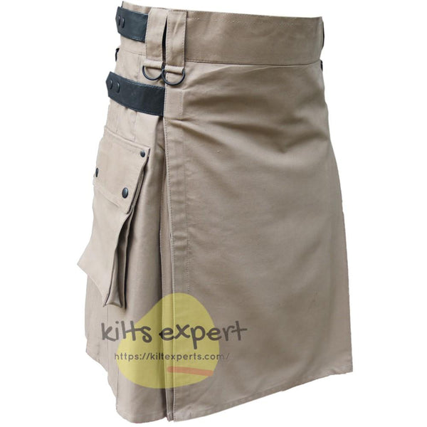 Khaki Leather Straps Utility Kilts For Active Men - Kilt Experts