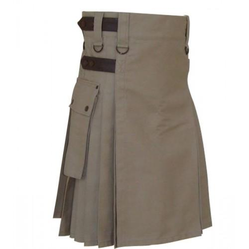 Khaki Men Leather Strap Utility Kilt Kilt Experts