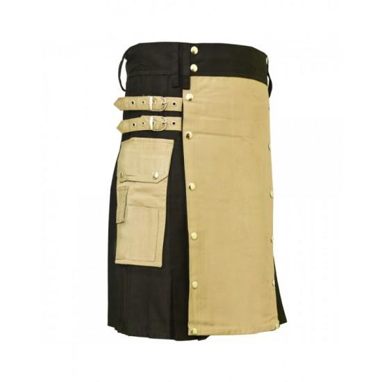 Khaki Modern Utility Kilt For Active Men - Kilt Experts