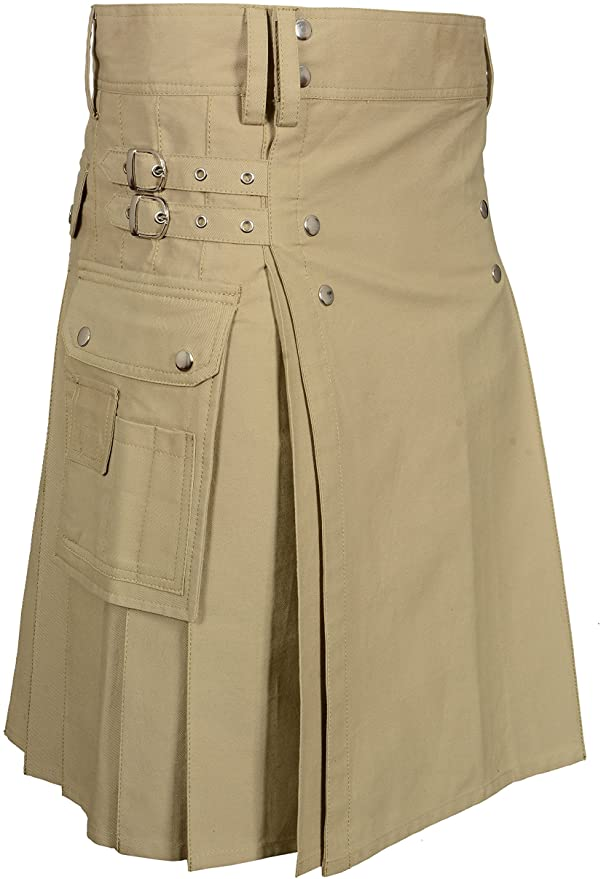 Khaki Modern Utility Kilts For Active Men With Silver Rivets