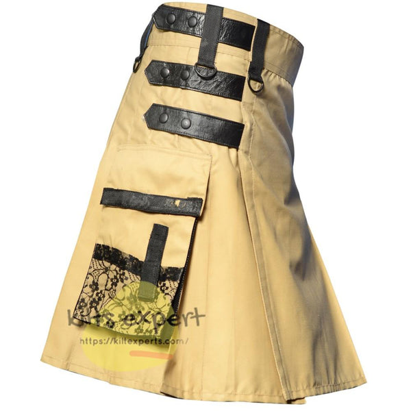 Khaki New Modern Utility Kilt - Kilt Experts