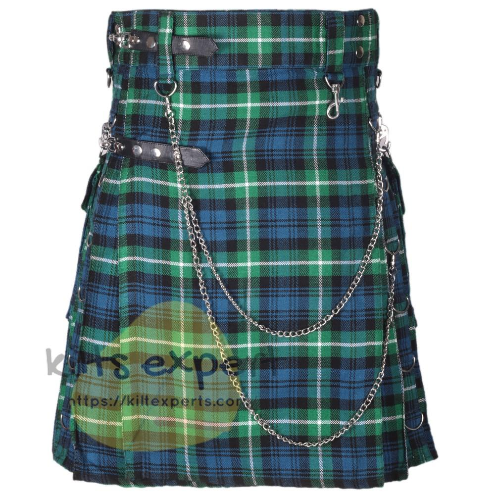 Lamont Ancient Tartan 16OZ Stud Kilt With Detachable Chain & Pockets